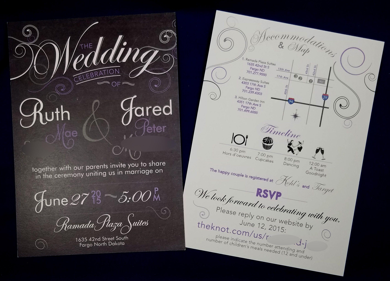 purple n black invite w rsvp map timeline wedding rsvp