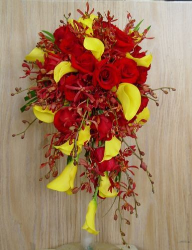 Red And Yellow Wedding Flowers Red Bouquets Terra Flowers
