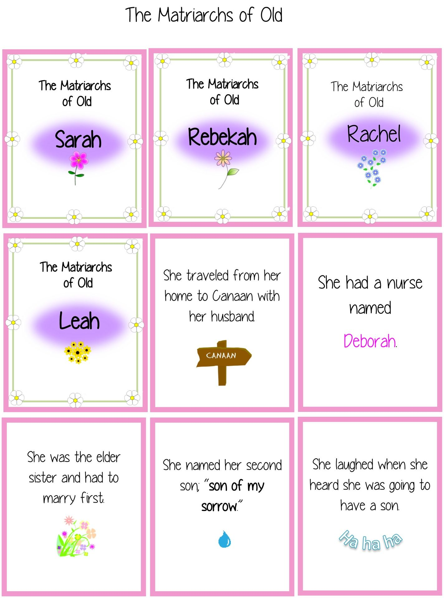 The Matriarchs of Old Bible Character matching game | Bible