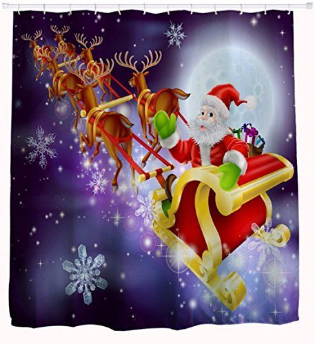 AMonamour Christmas Holiday Home Decor Santa Claus With Sleigh