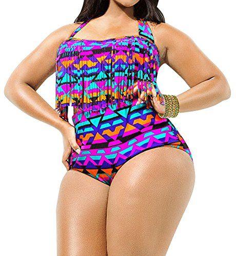 d2c8af89bc49 Creabygirls® Womens Plus Size Print High Waist Two Piece Tassel Swimsuits - Bathing  Suits