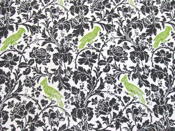 1 Yard Fabric Black Barber Pattern with Lime by TextilesandThings