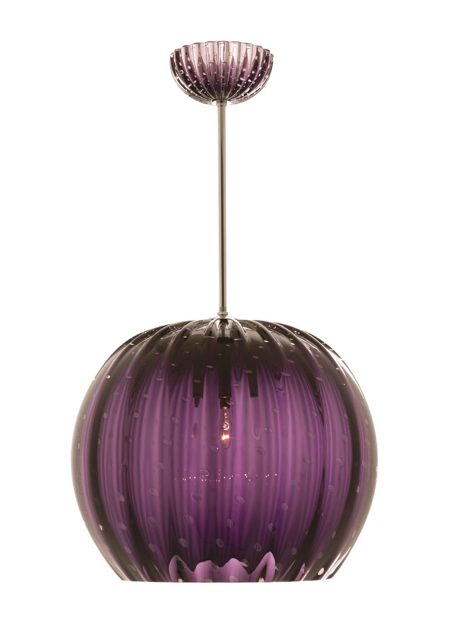 Hand Blown Purple Murano Glass Pendant Light By Baroncelli Blown