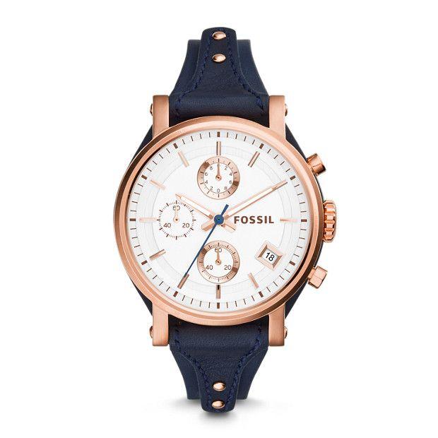Original Boyfriend Chronograph Navy Leather Watch In 2020 Leather Watch Watches Women Leather Fossil Watches
