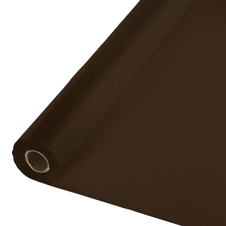 Touch Of Color Chocolate Brown Solid Color Plastic Banquet Roll Table Cover Household Items Plastic Tables Disposable Tableware