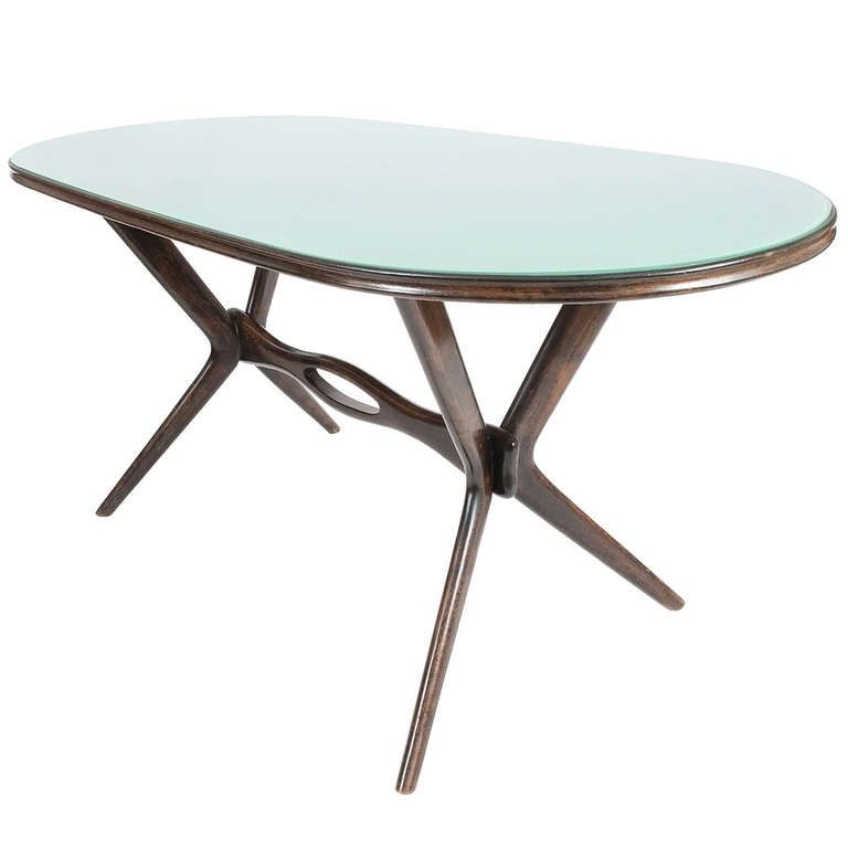 elegant italian glass dining table attributed to ico parisi