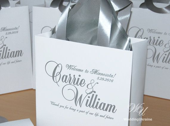 Silver Wedding Welcome Bags With Satin Ribbon And Names Elegant Personalized Paper Bag White