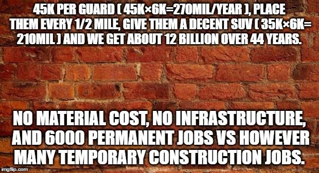 For the same price as the wall you could employ 6000 border guards for 44 years...