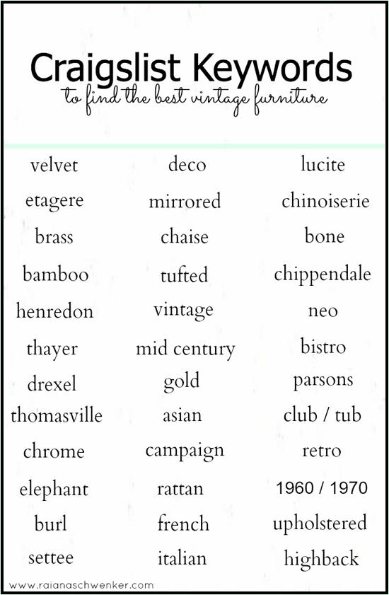 Etc Inspiration Blog How To Best Search Craigslist Keywords To Find Best Vintage Furniture Raina Schwenker Vintage Furniture Good To Know Best