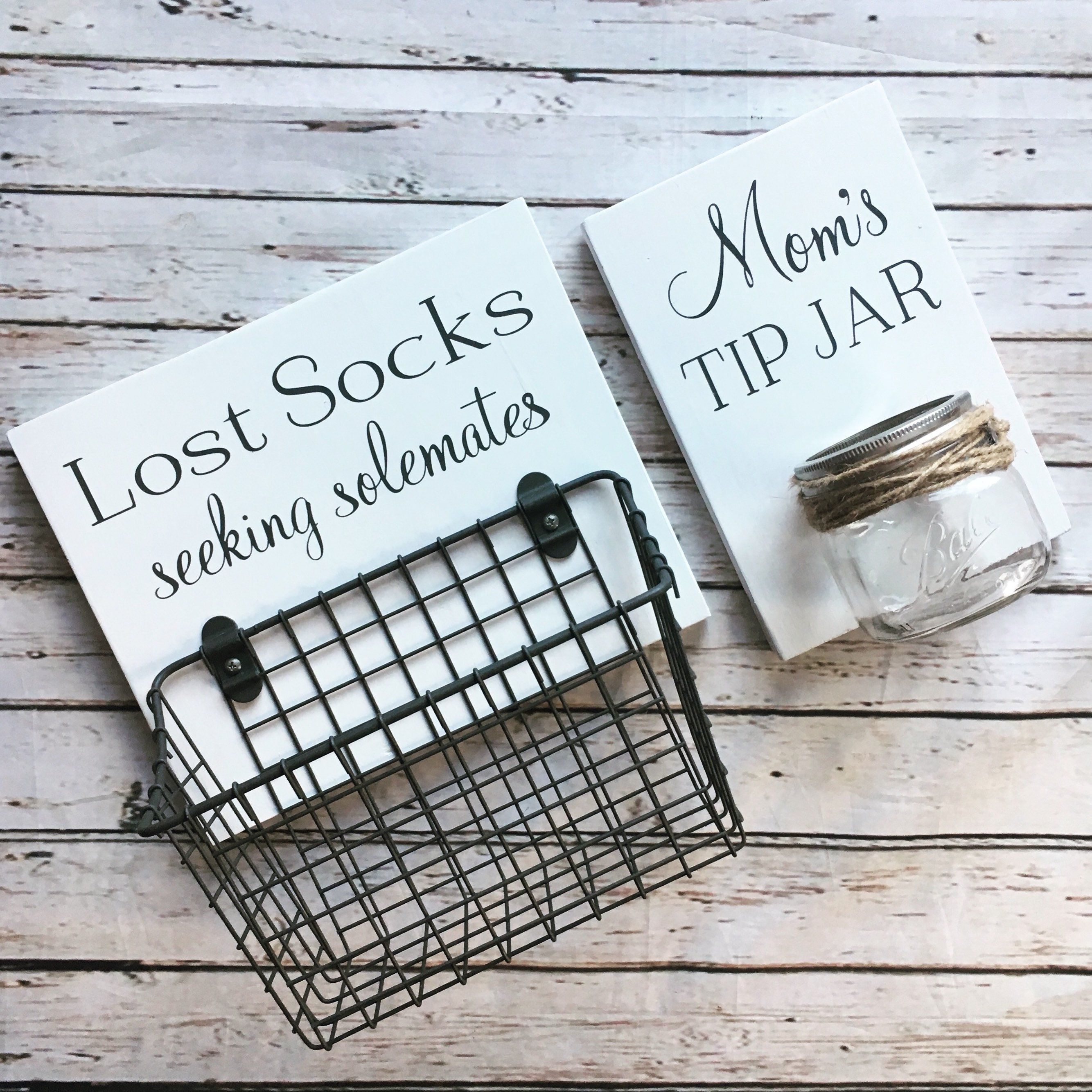 Photo of Laundry Room Sign Combo | Mom's Tip Jar AND Lost Socks – Seeking Soulmates (or Solemates) | wood sign with attached glass jar coin holder