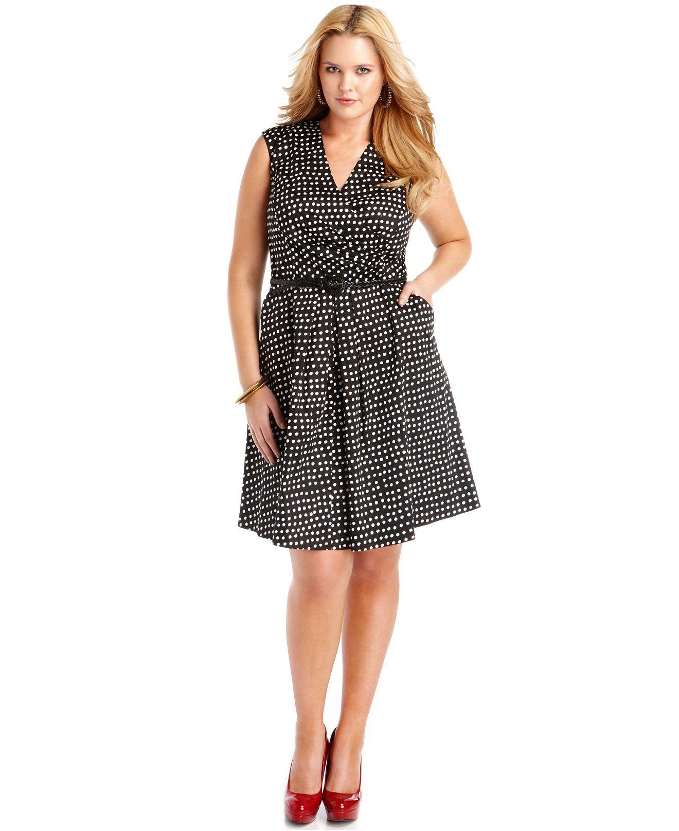 Jessica simpson plus size dress vneck polka dot with belt