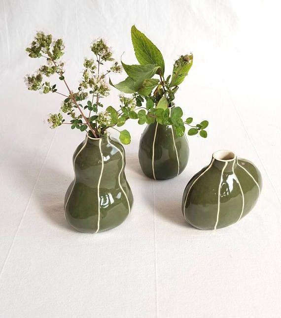 Ceramic Bud Vase Set 3 Modern Style Shapes Handmade Style