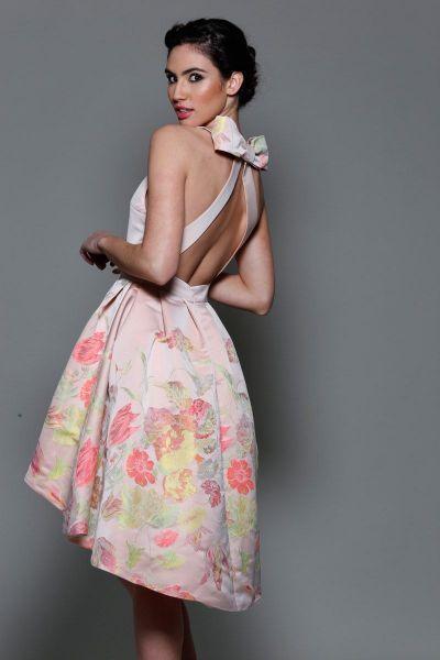 8480328e9 vestido asimetrico rosa con estampado de flores para boda fiesta evento  coctel bautizo comunion graduacion de primavera verano en apparentia
