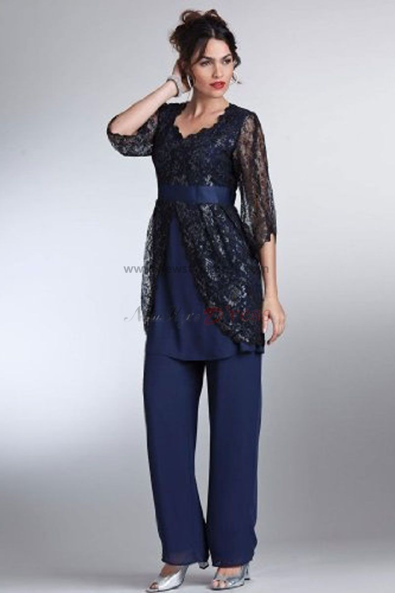 Royal Blue cheap mother of the bride pant suits with lace jacket ...