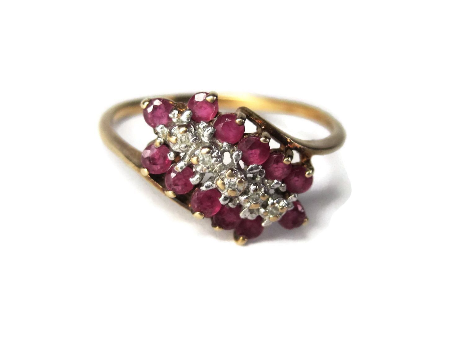 Vintage 10k Yellow Gold Ruby Diamond Cluster Ring Size 8 Cluster Ring Diamond Cluster Ring Ruby Diamond