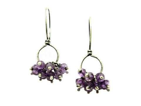 Amethyst Cluster Sterling Silver Earrings / Gugma Jewelry
