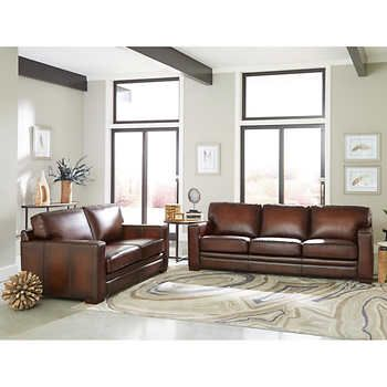 Luca 2 Piece Top Grain Leather Set Sofa Loveseat Dark Brown100