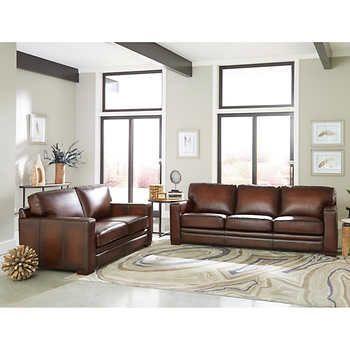Luca 2 Piece Top Grain Leather Set Sofa Loveseat In 2020 Leather Sofa And Loveseat Sofa And Loveseat Set Top Grain Leather Sofa