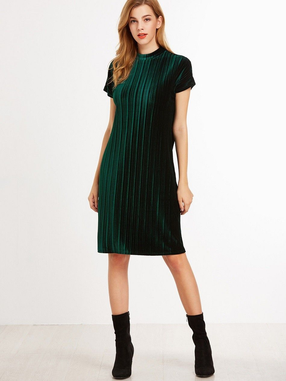 Samt Kleid 2017 mit Streifen Reißverschluss Grün | Damen ...