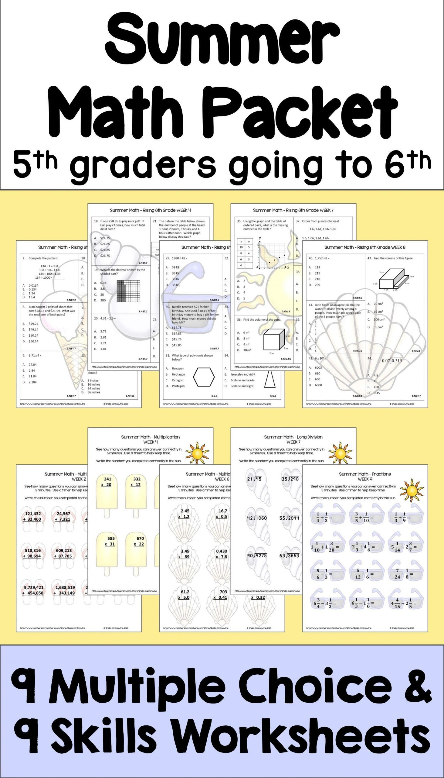 Abeka 5th Grade Math Worksheets Summer Math Packet For Rising 6th Graders Review Of 5th Summer Math Summer Math Packet Math Packets [ 2560 x 1463 Pixel ]