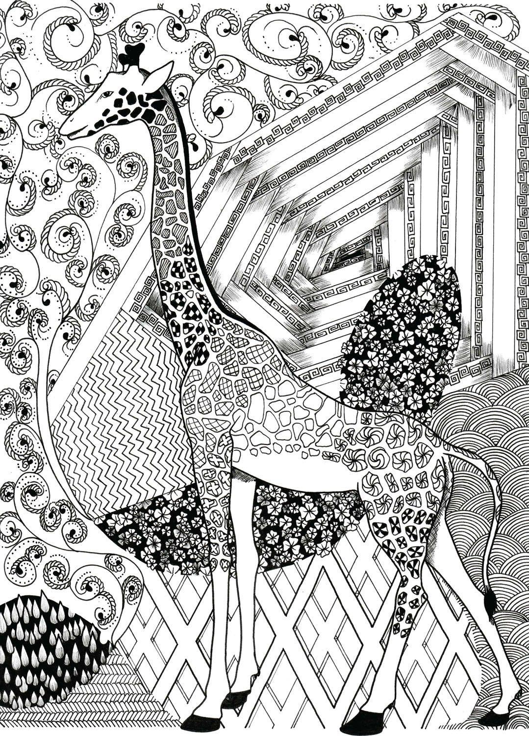 giraffe coloring page zentangle coloring pages printable