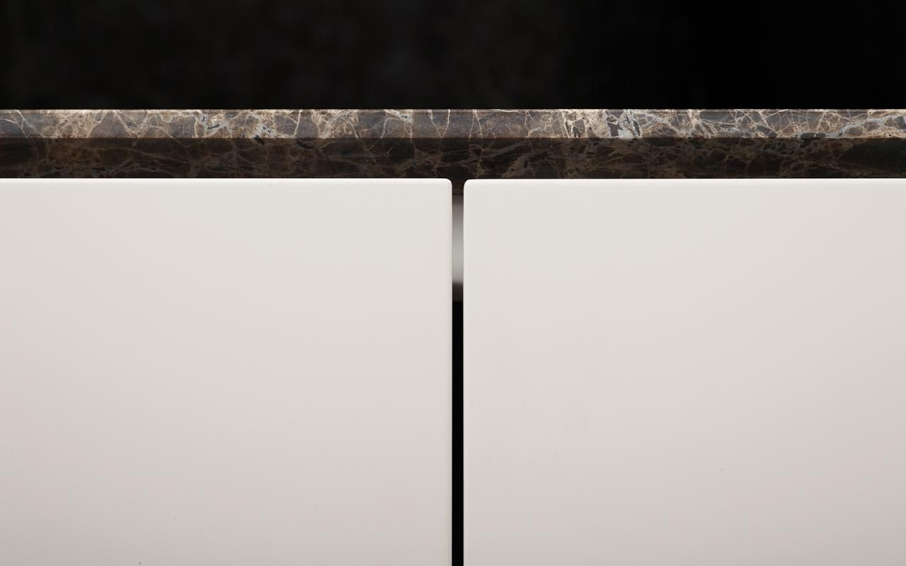 Detail of Minotti's Atelier kitchen with marble kitchen top. Nice.