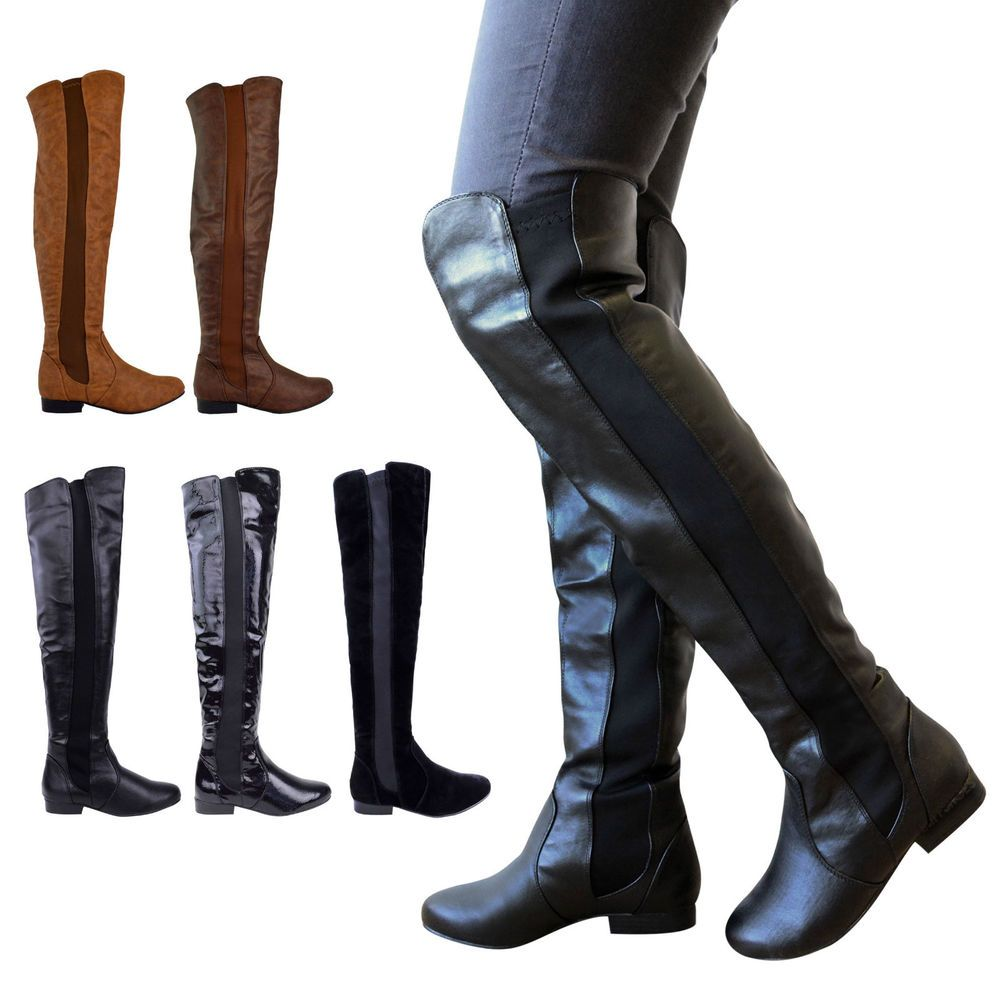 Womens Ladies High Over The Knee Elastic Stretch Pull On Low Heel Boots Size RP_7904