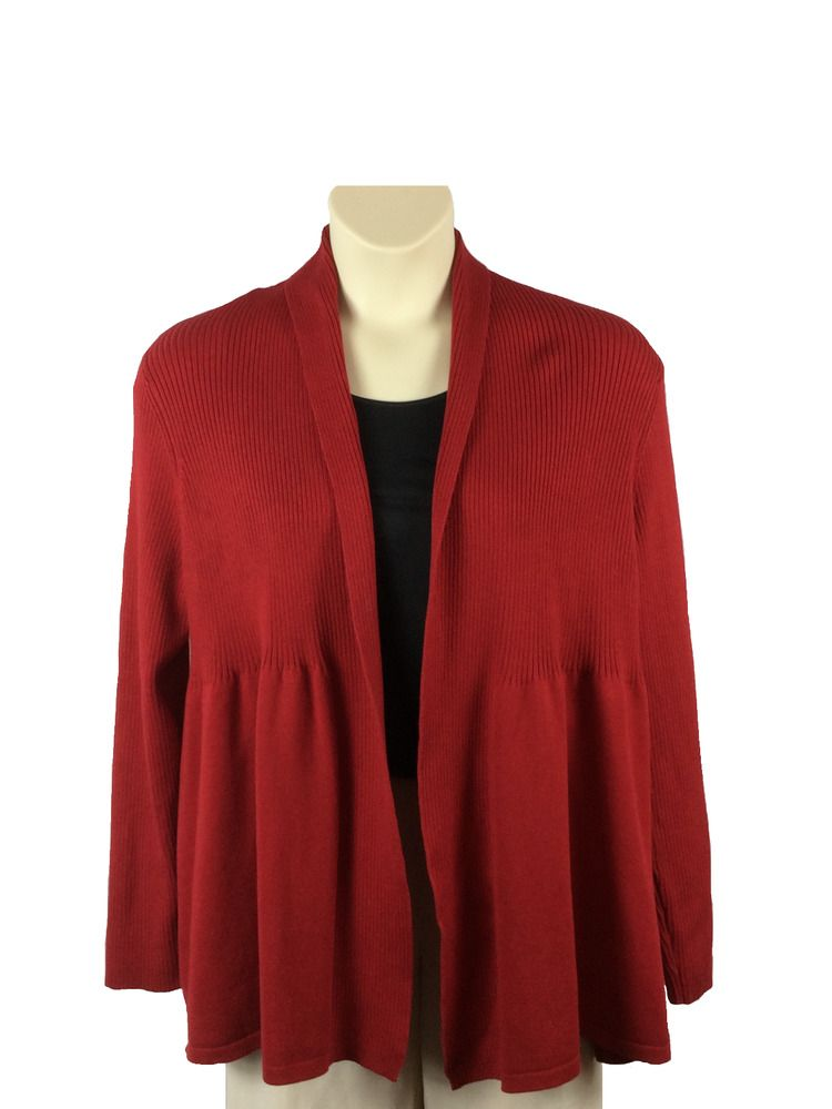 Women's Talbots Petites Red Open Front Cardigan Sweater Size XL ...