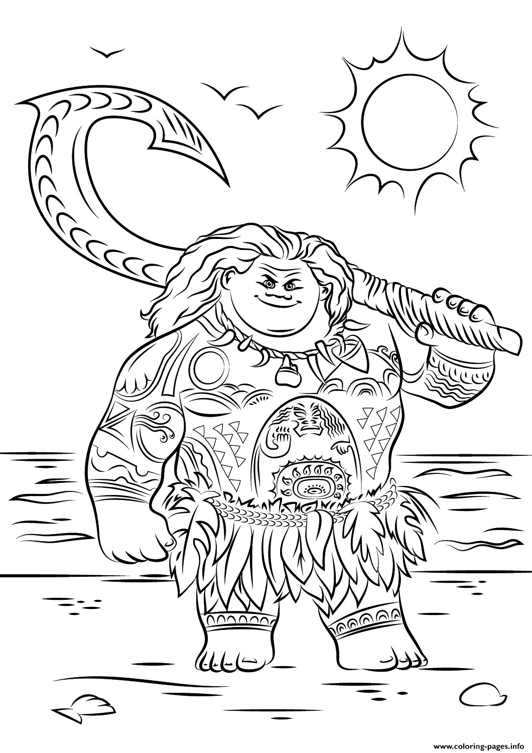 Print Maui From Moana Disney Coloring Pages Moana Coloring Pages Moana Coloring Moana Coloring Sheets