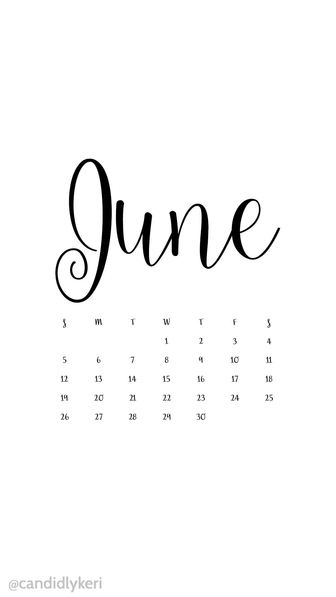 White and black script June 2016 calendar wallpaper free