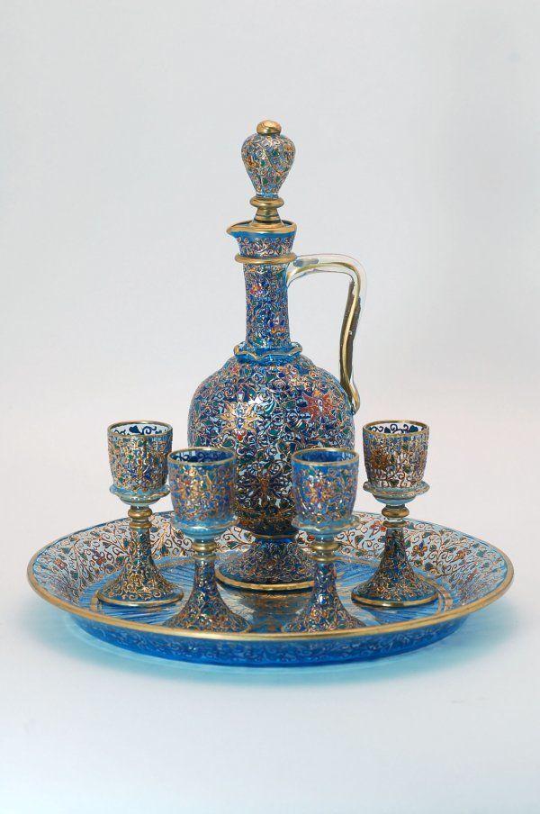 lot 505 moser enameled glass decanter set lot number 505 starting bid 200 auctioneer. Black Bedroom Furniture Sets. Home Design Ideas