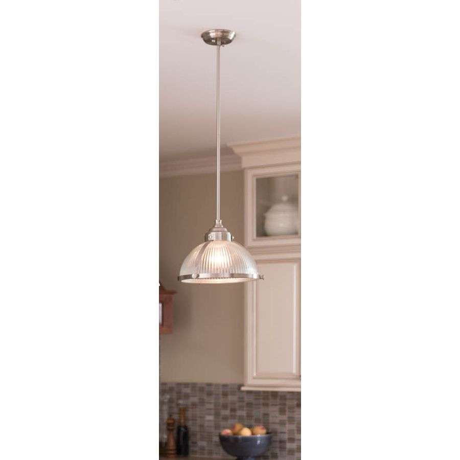 Lowes Pendant Lights For Kitchen Best Shop Allen  Roth 1312In W Satin Nickel Mini Pendant Light With Review