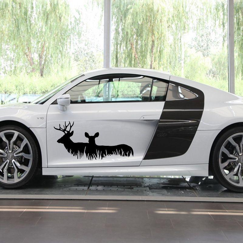 X 2 x deer family buck hunting car sticker animal pattern car door car body vinyl decal black sliver etc
