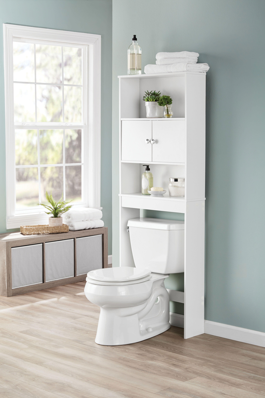 Mainstays Bathroom Storage Over The Toilet Space Saver With Three Fixed Shelves White Walmart Com Muebles De Bano Muebles Para Banos Pequenos Muebles Auxiliares Bano