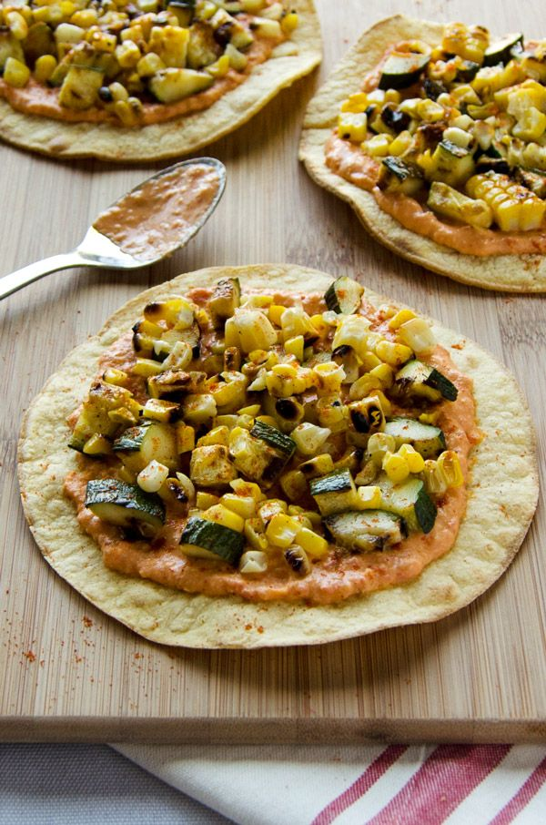 Grilled Zucchini Corn Tostadas With Spicy Hummus