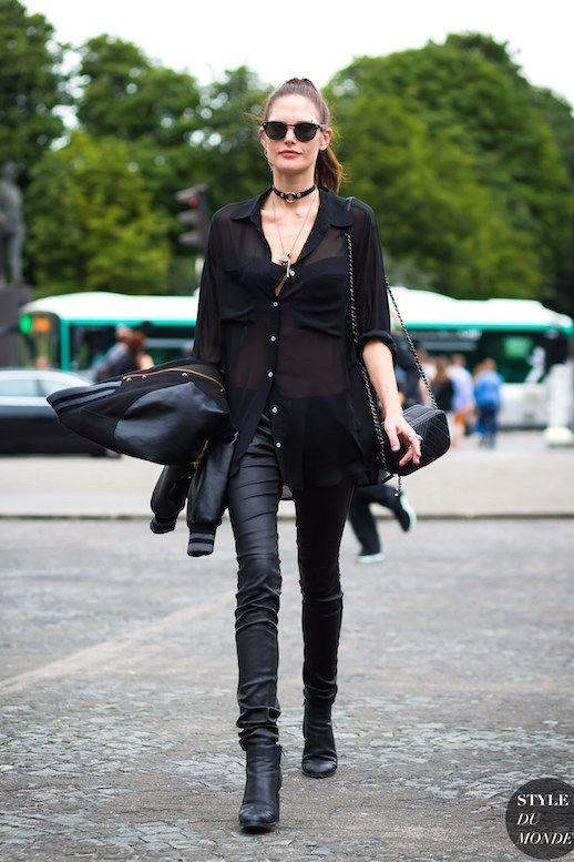 Le Fashion Blog Model Off Duty Style Catherine McNeil Ponytail Sunglasses Choker…