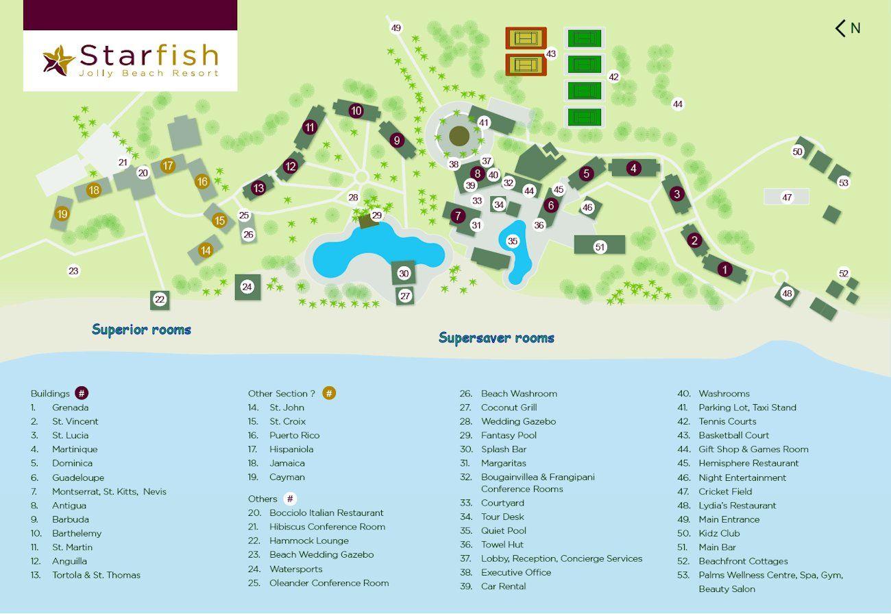 Resort Map Starfish Jolly Beach Resort Antigua And Barbuda In