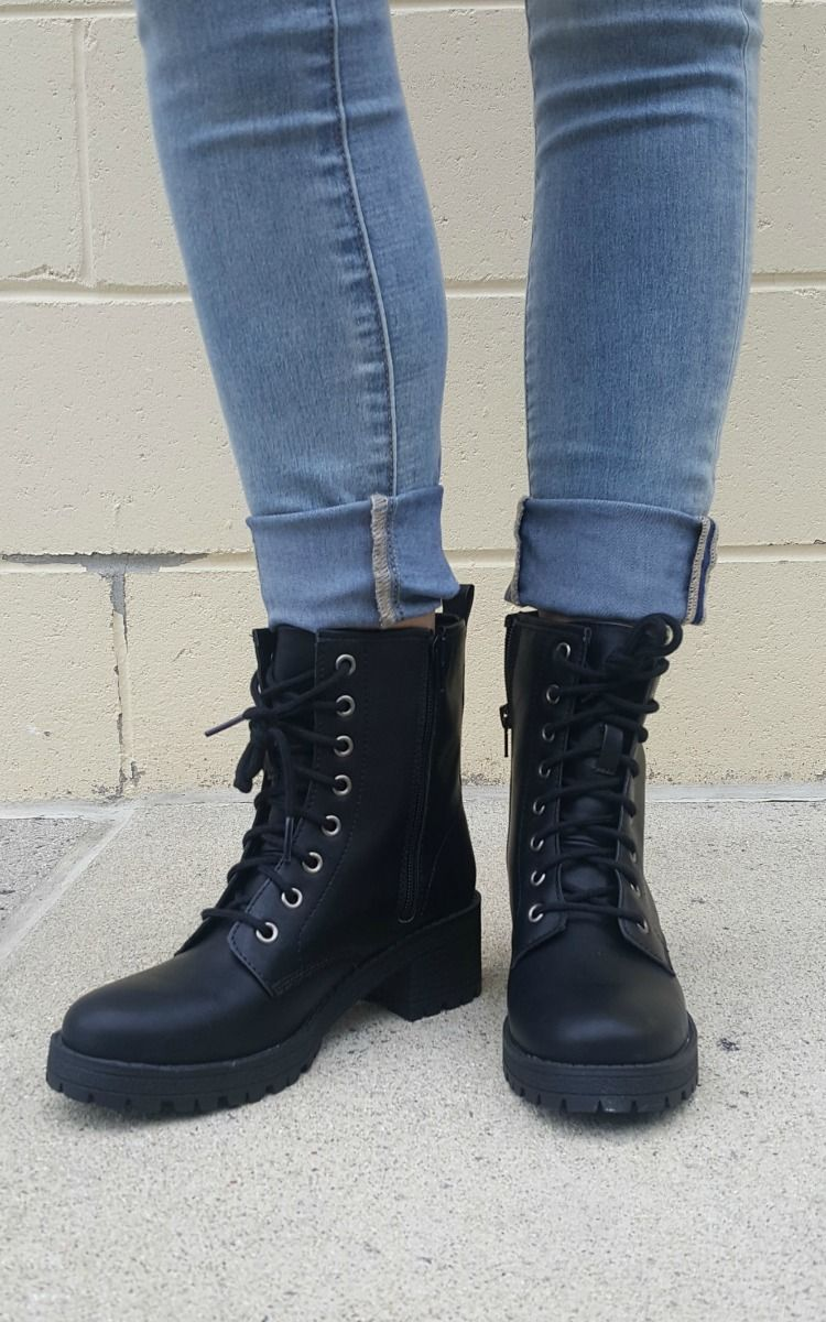 3bdff0f13ca Black Tie Up Combat Boots by Madden Girl. Essential boots for the ...