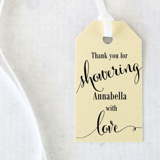 Bridal Shower Favor Tags, Showering with Love Tags, Bridal Shower Gift ...