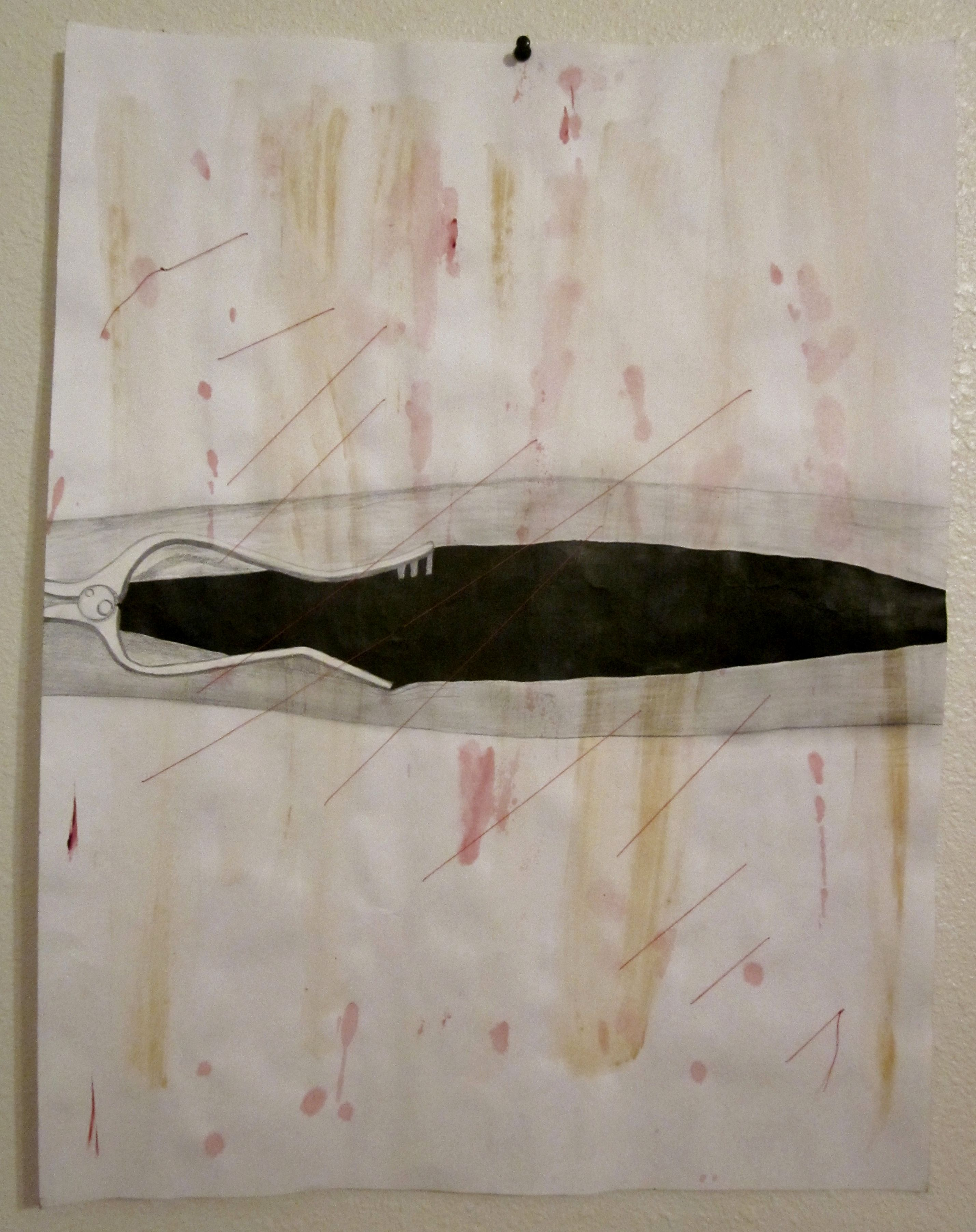 """Anatomy Series (Open Arm Surgery) by Taylor C. Kelley. 2011. Acrylic, Pencil, India Ink, & Thread. This is one drawing in a series of five drawings entitled """"Anatomy Series""""."""