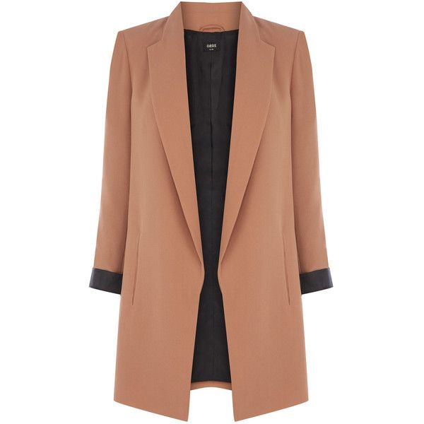 OASIS Tailored Longline Jacket (€45) ❤ liked on Polyvore featuring outerwear, jackets, coats, coats & jackets, blazer, natural, tailored jacket, beige jacket, open front blazer and long line jacket
