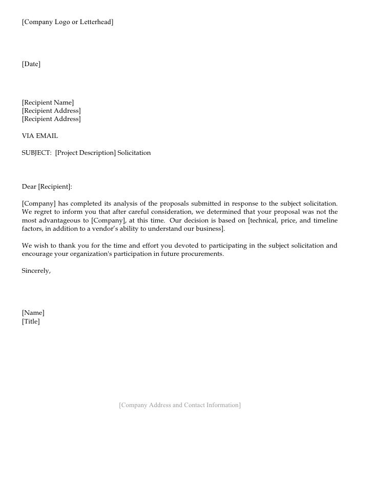 Letterhead Format For Company Proposal Rejection Letter  Response To Rejection Letters Getting .