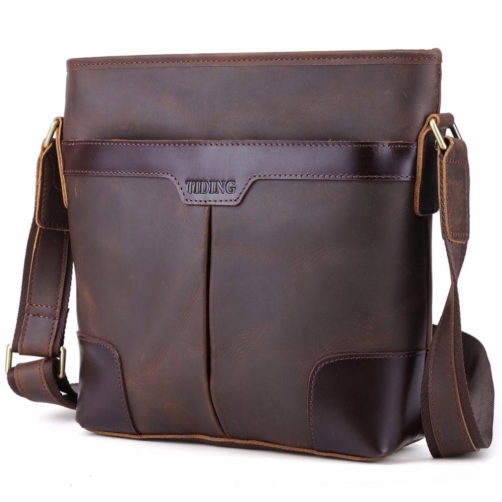 84967f737f 2017 Handmade Genuine Leather Messenger Bag Brand Designer Men Shoulder Bag  Vintage Retro Cross body Bags
