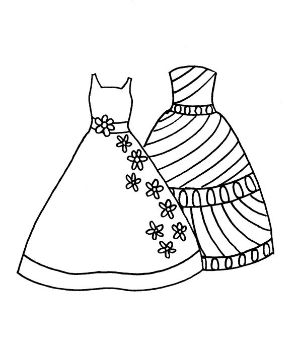 dress coloring page - Dress Coloring Pages