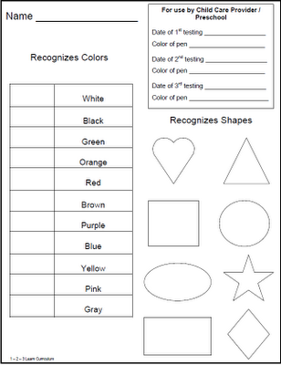 Children Preschool Testing Sheets Located As A Free Download At
