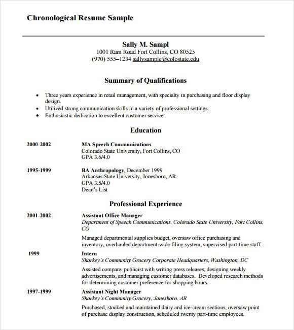 Chronological Resume Samples Examples Format Sample Function
