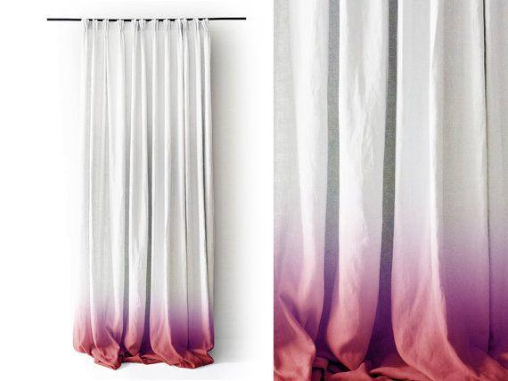 Weiße Leinen Vorhang Panel Ombre Red Fade in weiß. Prise Falte Nummer 3 durch schöne Idee.