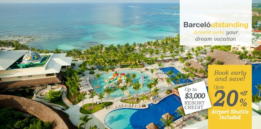 Barceló Maya Palace Deluxe - All Inclusive, families, south of Playa Del Carmen, large resort.