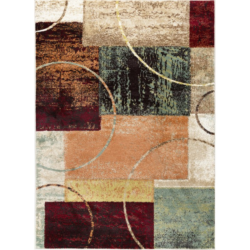 5 X 7 Medium Red Brown And Teal Area Rug Deco Teal Area Rug