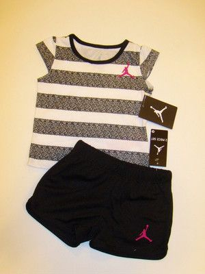 Nwt Baby Girls Nike Air Jordan 2pc Shirt Shorts Outfit Set 12m